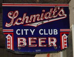 SCHMIDT'S Beer City Club porcelain neon SIGN Roadrelics