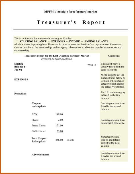 Treasurer's Report Agm Template