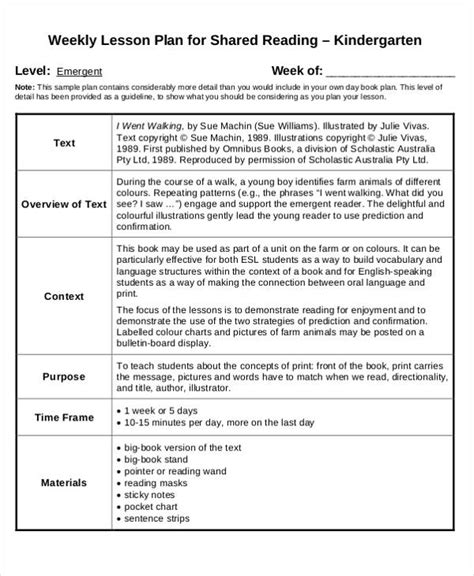 Lesson Plan Template For Kindergarten by 40 Lesson Plan Templates Free Premium Templates