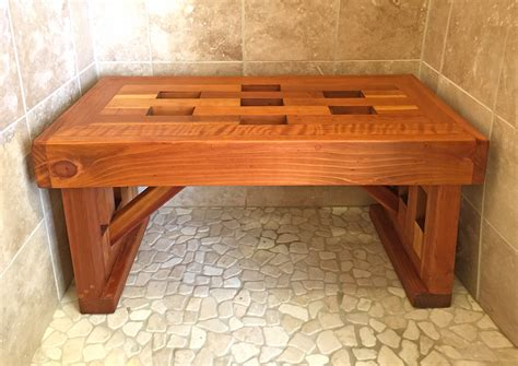 custom lighthouse redwood shower bench   usa