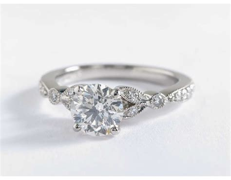 Petite Vintage Pavé Leaf Diamond Engagement Ring In 14k
