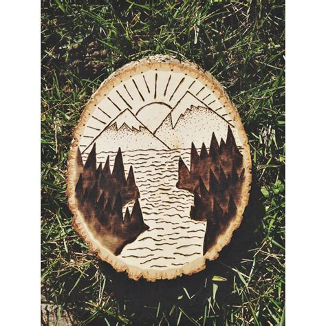 mountain scenery wood burn  visuallydesigned  etsy