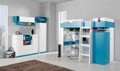 lit et bureau combin lit enfant bleu et blanc avec bureau armoire et