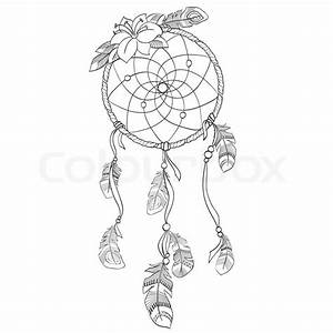 dreamcatcher vectorillustration stock vector colourbox With dream catcher tattoo template
