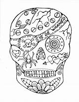 Coloring Pirate Skull Sugar Halloween Tricks Treat Featured Pages Printable Easy sketch template