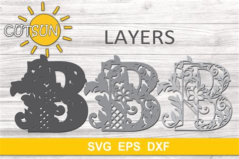 Each letter is either 5 or 7 layers depending on the design. 3D Alphabet Layered Mandala B - 3 layers SVG (522490 ...