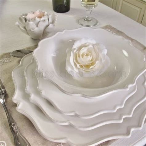 french  white dinner set pc bliss  bloom