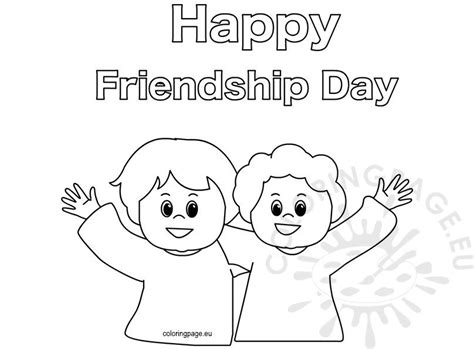 happy friendship day coloring page  kindergarten coloring page