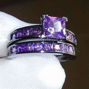 Sz5 10 retro princess cut 10kt black gold filled amethyst for Amethyst wedding ring set