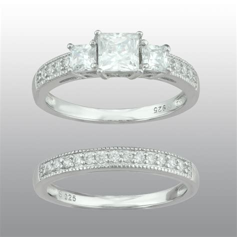 sterling silver engagement ring with cubic zirconia band