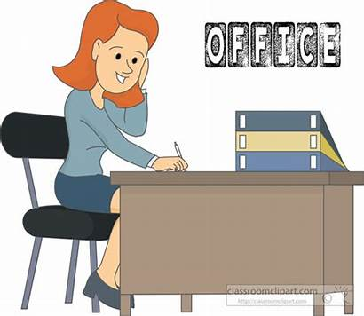 Office Clipart Worker Desk Sitting Transparent Medium