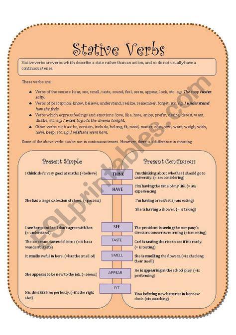 stative verbs esl worksheet by vitude