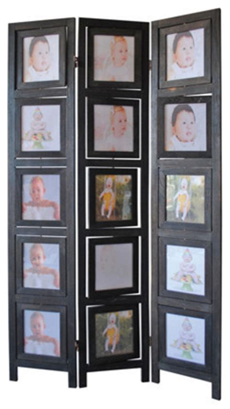 3 Panel Double Sided Black Finish Wood Photo Frame Room