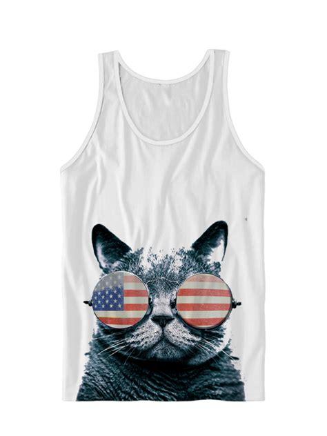 usa kitten tank top american flag cat wearing glasses