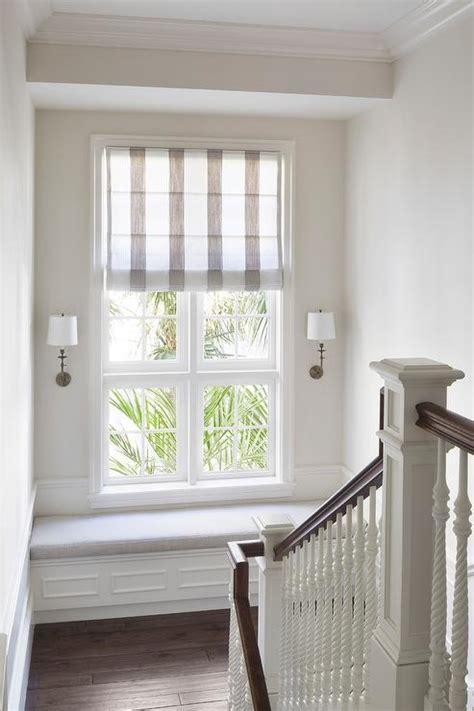 staircase landing built  window seat bench