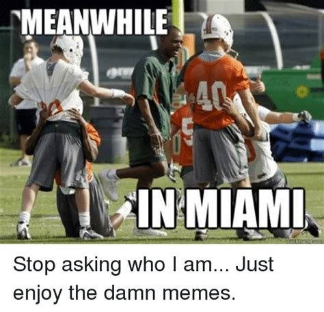 Fsu Memes - meanwhile in miami stop asking who i am just enjoy the damn memes meme on me me