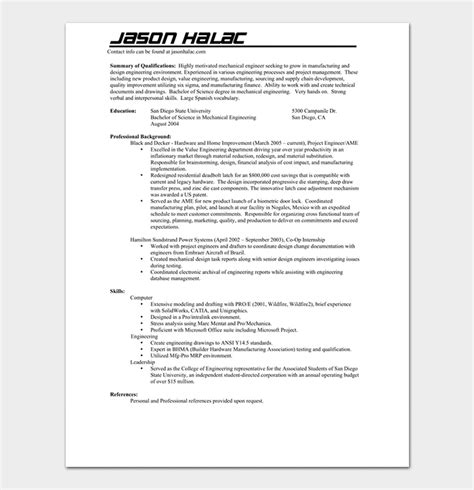 mechanical engineer resume template  samples formats