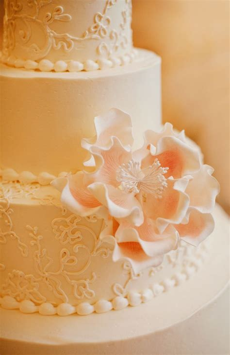 wedding cake  pink sugar flowers