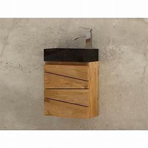 lave main suspendu en teck sentani avec vasque beton cire With salle de bain design avec lave main pierre naturelle
