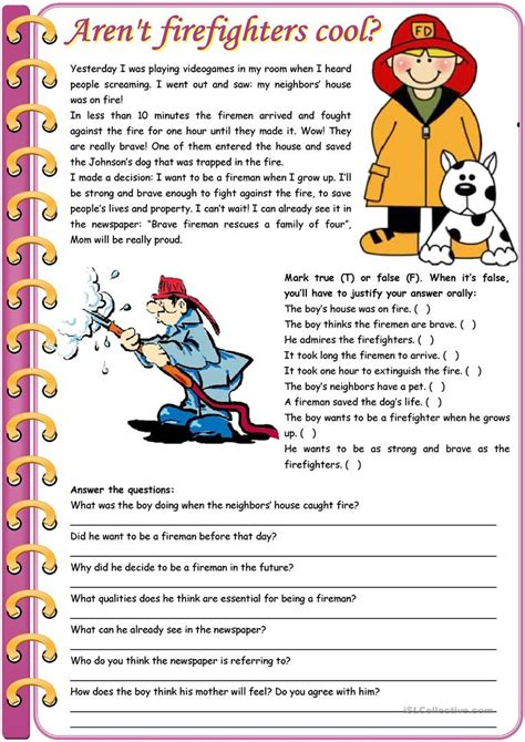 Aren't Firefighters Cool?  Reading Comprehension + Grammar (comparative Of Equality, Past