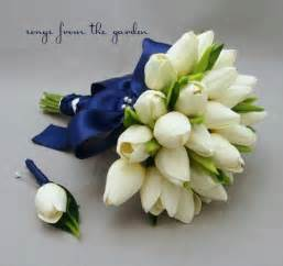 tulip bouquet wedding real touch tulips bridal bouquet white navy blue ribbon groom boutonniere tulip wedding flower