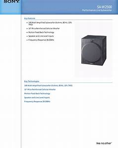 Sony Sa W2500 User Manual Marketing Specifications Saw2500
