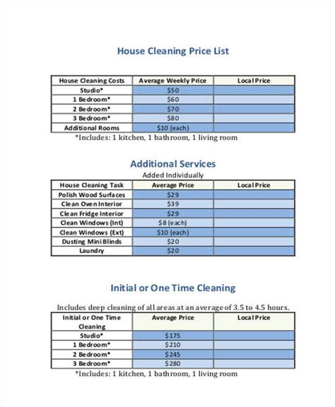 house cleaning rates 19 price list sles in pdf