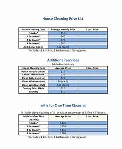 house cleaning services cleaning service prices places With cleaning price list template