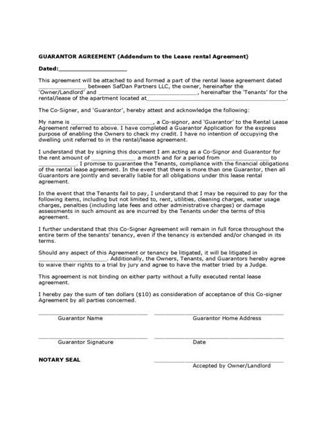 guarantor agreement sample form