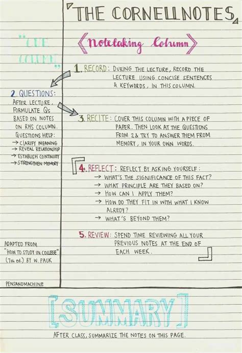 avid cornell notes template format