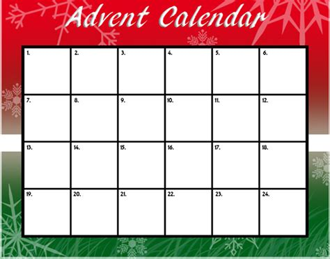 Free Printable Advent Calendar Template Costumepartyrun