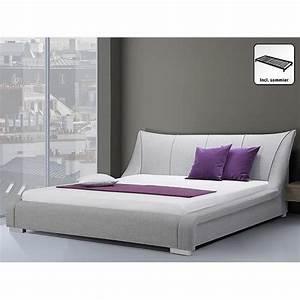 Lit 180x200 Pas Cher : lit design en tissu lit double 180x200 cm gris ~ Melissatoandfro.com Idées de Décoration