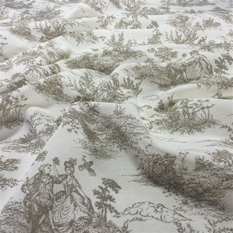 discover direct cotton rich fabric toile de jouy beige