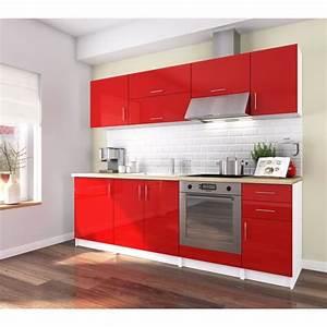 Meuble Cuisine Rouge Laqué : cuisine rouge laque achat vente pas cher ~ Teatrodelosmanantiales.com Idées de Décoration