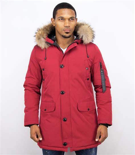 heren winterjas lang grote xl bontkraag parka rood onlinewinterjasnl