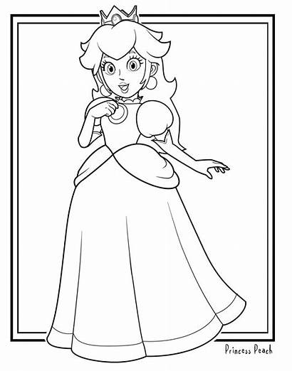 Mario Coloring Pages Colour Peach Super Printable