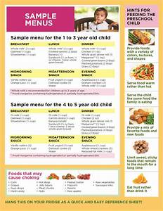 Geriatric Diet Chart Sample Menu For The One To Three Year Old And Four To Five