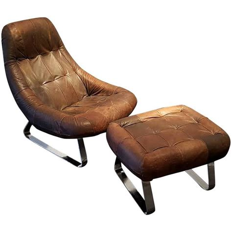 leather lounge chair with ottoman percival lafer leather and chrome earth lounge chair with