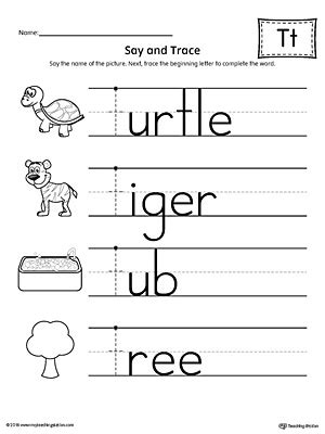 say and trace letter t beginning sound words worksheet