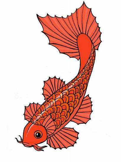 Fish Japanese Koi Clipart Drawing Cartoon Glue