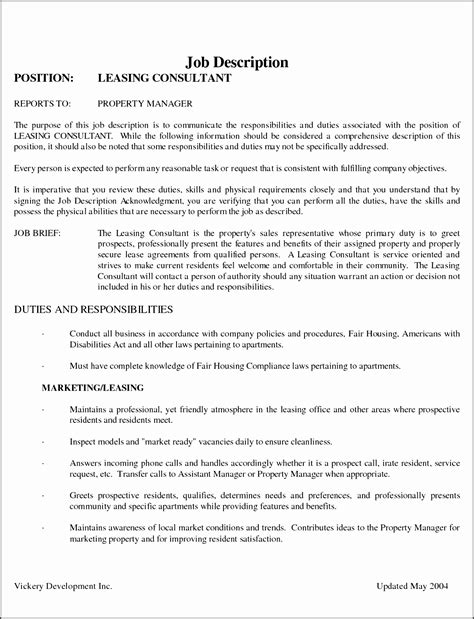 Leasing Consultant Resume by 11 Description Statement Template Sletemplatess