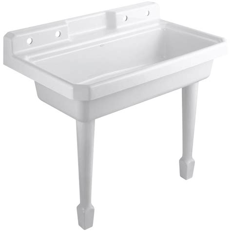 home depot wall mount utility sink kohler harborview 48 in x 28 in cast iron top mount wall
