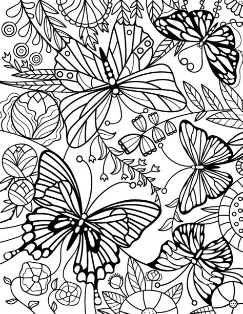 printable stained glass butterfly adult coloring page