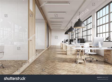 front view office interior row dark stock illustration