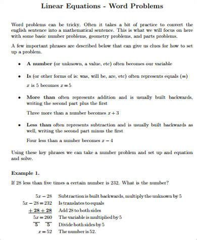 all worksheets 187 linear equations in one variable word