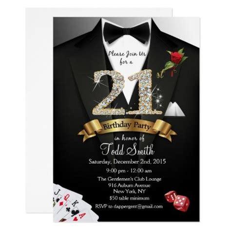 st birthday invitations tuxedo black tie casino st