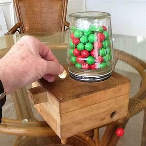 Child's Wooden Coin-Operated Gumball Machine