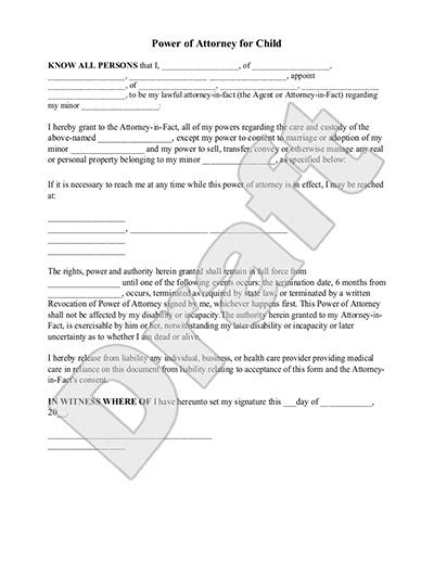 power  attorney form  child  printable documents
