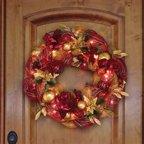 the 36 quot cordless prelit ribbon wreath hammacher schlemmer
