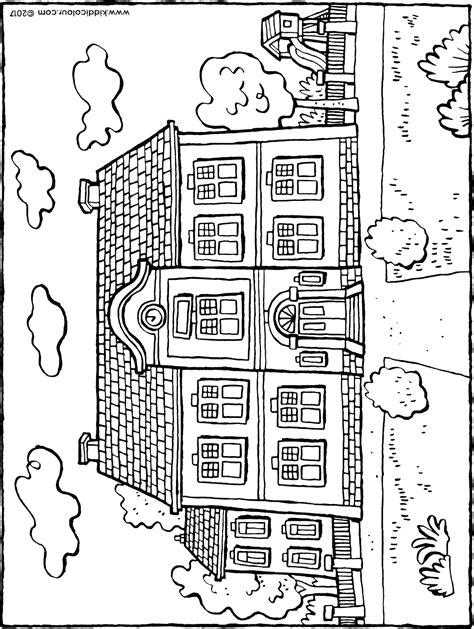Kleurplaat Schoolgebouw by Schoolgebouw Kiddicolour
